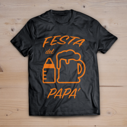 T-shirt festa del papà (stampa ARANCIONE FLUO)