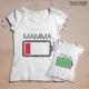 T-shirt batteria scarica figlia