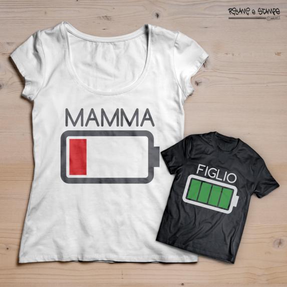 T-shirt batteria scarica figlio