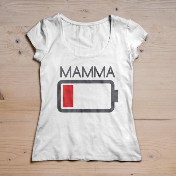 T-shirt batteria scarica Mamma